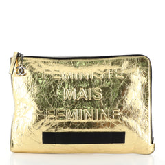 Chanel Feminine Pouch Crinkled Leather Large Metallic 45427153