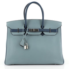 Hermes Birkin Handbag Bicolor Togo with Palladium Hardware 35 Blue 454271
