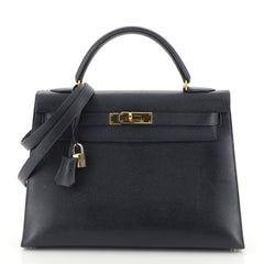 Hermes Kelly Handbag Blue Courchevel with Gold Hardware 32 Blue 4542721