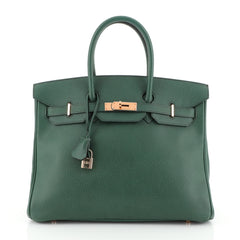 Hermes Birkin Handbag Green Ardennes with Gold Hardware 35