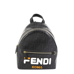 Fendi Mania Logo Backpack Zucca Coated Canvas Mini Black 4542730