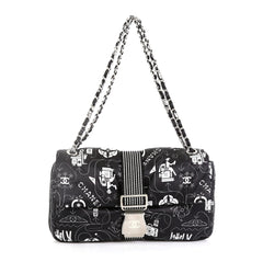 Chanel Airlines Chain Buckle Flap Bag Printed Satin Medium Print 4542733
