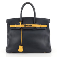 Hermes Birkin Handbag Bicolor Courchevel with Gold Hardware 35 Blue 454273
