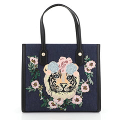 Gucci Tiger Pearl Tote Embroidered Denim Medium Blue 4542767