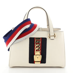 Gucci Sylvie Top Handle Tote Leather Medium White 4542770