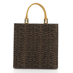 Fendi Vintage Shopping Tote Printed Canvas Large Brown 4542781