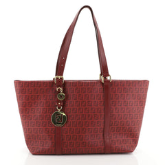 Fendi Superstar Tote Zucchino Coated Canvas Large Red 4542790