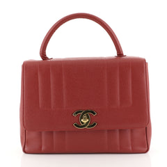 Chanel Vintage Top Handle Bag Vertical Quilt Caviar Jumbo Red 4542817