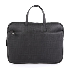 Fendi Zip Laptop Bag Zucca Coated Canvas Black 4542818