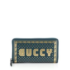 Gucci Zip Around Wallet Limited Edition Printed Leather Green 4542823