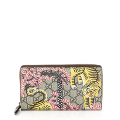 Gucci Zip Around Wallet Printed GG Coated Canvas Brown 4542827