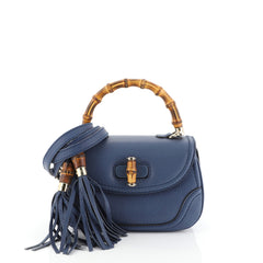 Gucci New Bamboo Convertible Top Handle Bag Leather Small Blue 4542832