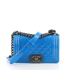 Chanel Boy Flap Bag Quilted Patent Small Blue 4543502