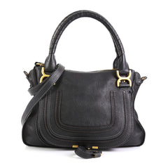 Chloe Marcie Satchel Leather Medium Black 454461