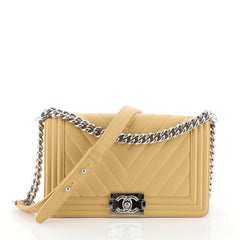 Chanel Boy Flap Bag Chevron Lambskin Old Medium Yellow 454541