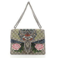 Gucci Dionysus Bag Embroidered GG Coated Canvas with Python Medium Brown 454731