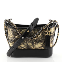 Chanel Gabrielle Hobo Quilted Crumpled Goatskin Small Black 454861