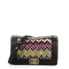 Chanel Mosaic Boy Flap Bag Embellished Lambskin Old Medium Black 454961