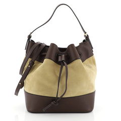 Loewe Midnight Bucket Bag Suede and Leather Medium Brown 454993