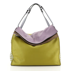Bottega Veneta Palio Fold Over Tote Colorblock Nappa Leather With Intrecciato Detail