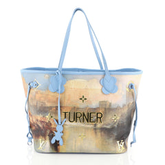 Louis Vuitton Neverfull NM Tote Limited Edition Jeff Koons Turner Print Canvas MM Blue 455211