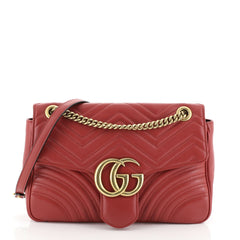 Gucci GG Marmont Flap Bag Matelasse Leather Medium Red 4552312