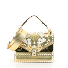 Fendi Monster Kan I Bag Flower Studded Leather Medium Metallic 4552917