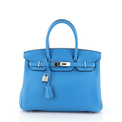 Hermes Birkin Handbag Blue Clemence with Palladium Hardware 30 Blue 4552918
