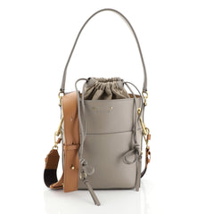 Chloe Roy Bucket Bag Leather Small Gray 455451