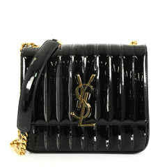 Saint Laurent Vicky Crossbody Bag Vertical Quilted Patent Large Black 455641