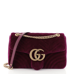 Gucci GG Marmont Flap Bag Matelasse Velvet Medium Purple 455801