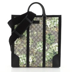 Gucci Convertible Tote Blooms Print GG Coated Canvas Tall Green 4560020