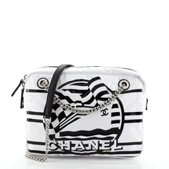 Chanel La Pausa Bay Camera Case Bag Printed Canvas Small White 4560021