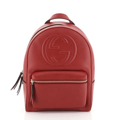 Gucci Soho Chain Backpack Leather Red 4560023