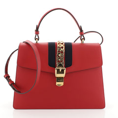 Gucci Sylvie Top Handle Bag Leather Medium Red 4560027