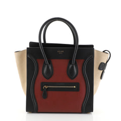 Tricolor Luggage Handbag Leather Micro