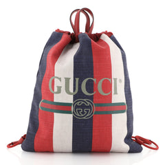 Gucci Logo Drawstring Backpack Striped Raffia Large White 4560037
