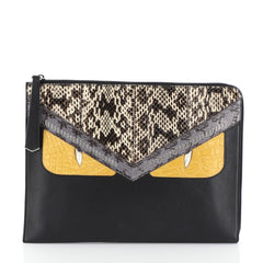 Fendi Monster Clutch Leather with Python and Crocodile Medium Black 4560049