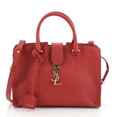 Saint Laurent Monogram Cabas Leather Small Red 4560051