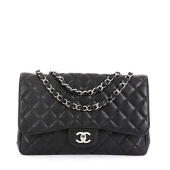Chanel Vintage Classic Single Flap Bag Quilted Caviar Jumbo Black 4560074