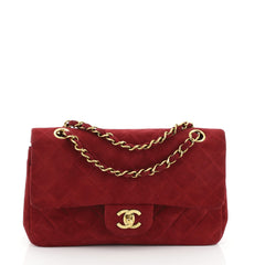 Chanel Vintage Classic Double Flap Bag Quilted Suede Small Pink 4560081