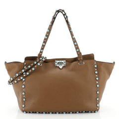 Valentino Rolling Rockstud Tote Leather with Cabochons Medium Brown 456021
