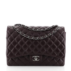 Chanel Classic Double Flap Bag Quilted Lambskin Maxi Purple 456277
