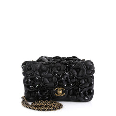 Chanel CC Camellia Flap Bag Lambskin with Patent Mini Black 456278