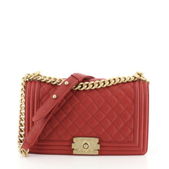 Chanel Boy Flap Bag Quilted Caviar Old Medium Red 456283
