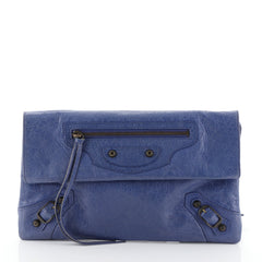 Balenciaga Envelope Clutch Classic Studs Leather Blue 456292