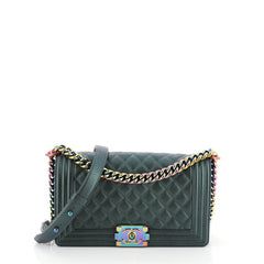 Chanel Boy Flap Bag Quilted Iridescent Goatskin Old Medium Green 456433