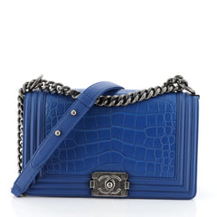 Chanel Boy Flap Bag Alligator Old Medium Blue 456434