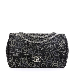 Chanel Paris-Shanghai Pudong Flap Bag Strass Embellished Tweed Medium