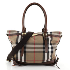 Burberry Marta Convertible Diaper Bag House Check Canvas Large Brown 4565701